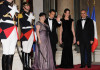 French President Nicolas Sarkozy and Carla Bruni Sarkozy with and Lebanese President Michel Sleimane and Lebanese First Lady Wafa Sleimane attend State Dinner at Elysee Palace on March 16th 2009 in Paris France 2