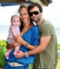 Alessandra Ambrosio with her husband Jamie Mazur and their new baby daughter Anja in Santa Catarina Brazil on March 16th 2009