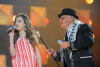 Basma and Lebanese singer Toni Hanna at Star Academy Eighth Prime on April 10th 2009