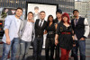 American Idol Season Eight contestants Adam Lambert, Allison Iraheta, Matt Giraud, Kris Allen Danny Gokey, Lil Rounds and Anoop Desai arrive at the movie premiere of 17 Again on April 14, 2009