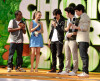 Jonas Brothers and Lily Collins on stage at Nickelodeon's 2009 Kids Choice Awards