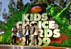 Jonas Brothers on stage with Lily Collins at Nickelodeon's 2009 Kids Choice Awards