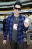 Adam Lambert Attends A Dodgers Game in April 2009