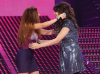 Aya and Myriam Fares together on stage of the LBC Star Academy Ninth Prime