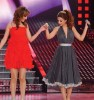 Myriam Fares singing on stage with Basma from Morocco at the LBC Star Academy Ninth Prime