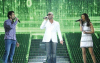 Massari with mohamed bash and lara singing on stage of staracademy6 on May 8th 2009 at the LBC Star Academy 12th prime on May 8th 2009