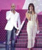 Massari and Hilda Khalife on stage of staracademy6 on May 8th 2009 at the LBC Star Academy 12th prime on May 8th 2009