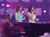 Basma singing along with Michel fadel on stage with Hilda Khalifeh standing at staracademy6 on May 8th 2009 at the LBC Star Academy 12th prime