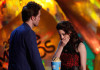Robert Pattinson and Kristen Stewart accept the Best Kiss award onstage during the 18th Annual MTV Movie Awards on May 31st 2009 in California 5