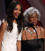 Zoe Saldana and Nichelle Nichols present an award onstage during the 2009 BET Awards held at the Shrine Auditorium on June 28th 2009 in Los Angeles 1