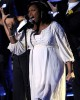 Jennifer Hudson singing on stage during the Michael Jackson Memorial Service