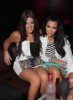 Kim Kardashian and Khloe Kardashian arrive at the Three O Vodka New Bubble Flavor Launch Party on July 9th 2009