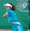 Sania Mirza during a tennis game the semifinal match agianst against russian maria kirlonko in wta hyderabad