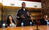 kim kardashian and Reggie Bush at the Diamond Empowerment Fund tour of Africa on July 14th 2009 press conference picture