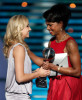 Condoleezza Rice and Olympic gold medalist Nastia Liukin recipient of the Best Female Athelete award on stage of the 17th Annual ESPY Awards