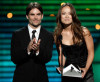Jeff Gordon and actress Olivia Wilde onstage presenting an award during the 17th Annual ESPY Awards
