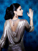 Haifa Wehbe jewlery promotional photo wearing a back pink beaded necklace