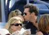 jill goodacre and Harry Connick Jr kissing at the 2008 US Open Mens Championship Match in Arthur Ashe Stadium at the USTA Billie Jean King National Tennis Center on September 8th 2008 in New York City