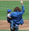 Eddie Vedder holds his daughter Olivia at a baseball game between the San Diego Padres and Chicago Cubs on May 14th 2006 in Chicago 3