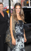 Alessandra Ambrosio photo out at MTV studios wearing a patterend gray and navy blue long dress in New York City on August 11th 2009 1