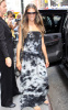 Alessandra Ambrosio photo out at MTV studios wearing a patterend gray and navy blue long dress in New York City on August 11th 2009 2