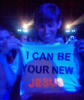 a fan with a printed tshirt that says  I can be your new Jesus during Madonnas concert yesterday in Warsaw Poland