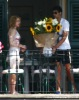 Jesus Luz picture as he wishes Madonna a happy birthday in the morning of August 17th 2009 and gives her a large bouquet of sunflowers