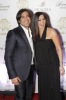 Elissa photo with Lebanese singer Wael Kfoury wearing a black dress on the red carpet 1