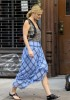 Drew Barrymore spotted wearing a blue plaid skirt on the set of her new film Going the Distance in New York on August 24th 2009 2