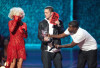 Eminem presents an Award to Lady Gaga as the Best New Artist at the 2009 MTV Video Music Awards at Radio City Music Hall on September 13, 2009 in New York City