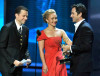 Jon Cryer and Hayden Panettiere present the Outstanding Host For A Reality Or Reality Competition Program award onstage during the 61st Primetime Emmy Awards to Jeff Probst