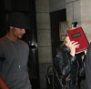 Jesus Luz picture with his girlfriend Madonna as she hides her face with a copy of the book Zohar to avoid the flashes of paparazzis cameras on september 22nd 2009 in New York 3