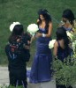 Kim Kardashian spotted at the wedding receptiopn of her sister Khloe wearing a backless purple dress as the bridesmaid at the brides residence in Beverly Hills on September 27th 2009 2