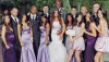 Khloe Kardashian and Lamar Odom photo during their wedding with Rob Kardashian and the bridemaids Kim and Kourtney Kardashian.