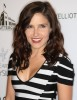 Sophia Bush wearing a striped black and white dress as she arrives at the The Art of Elysium Genesis celebration at HD Buttercup on October 10th 2009 in Los Angeles 1