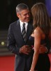 George Clooney and his girlfriend Elisabetta Canalis at the screening of his new movie Up in the Air held at the Auditorium Parco della Musica on October 17th at the Rome Film Festival in Italy 1