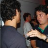 Jesus Luz picture talking to a member of the the project Porto Som while at the rock show of the band A Zorra on Sunday October 18th 2009 during his visit to Bahia Salvador
