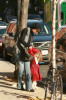 Katie Holmes and her daughter Suri Cruise spotted waiting a car after shopping in Newbury Street on october 26th 2009 5