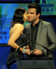 Michelle Monaghan presents the Hollywood Movie Of The Year to Zachary Quinto onstage during the 13th annual Hollywood Awards Gala Ceremony held at The Beverly Hilton Hotel on October 26th 2009 2