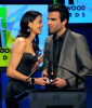 Michelle Monaghan presents the Hollywood Movie Of The Year to Zachary Quinto onstage during the 13th annual Hollywood Awards Gala Ceremony held at The Beverly Hilton Hotel on October 26th 2009 1