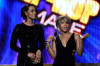 Keri Hilson and Toni Braxton speak onstage at the 2009 American Music Awards at Nokia Theatre LA Live on November 22nd 2009 in Los Angeles California 3