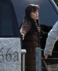 Angelina Jolie spotted wearing a black hair wig on the filming set of Salt on december 30th 2009 3