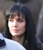 Angelina Jolie spotted wearing a black hair wig on the filming set of Salt on december 30th 2009 1
