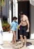 Hugh Jackman and Oscar Maximilian spotted at a hotel after a busy day at the beach on January 13th 2010 2