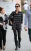 Jessica Alba spotted walking around Beverly Hills for a meeting at WmE2 on January 15th 2010 wearing black leggings under a tall gray pattened shirt 3
