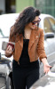 Vanessa Hudgens picture while spotted shopping on January 15th 2010 around Studio City wearing a mini honey brown jacket and balack outfit 4