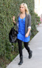 Ashley Tisdale walking around LA Studios in Hollywood on January 12th 2010 wearing black leggings and a blue top 3
