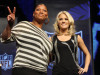 Queen Latifah and Carrie Underwood during the Pregame Show and National Anthem Press Conference held at the Fort Lauderdale Convention Center on February 4th 2010 in Fort Lauderdale Florida 5