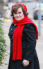 Susan Boyle seen walking around wearing a red woolen scarf and hat on February 3rd 2010 in London England 3