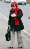 Susan Boyle seen walking around wearing a red woolen scarf and hat on February 3rd 2010 in London England 2